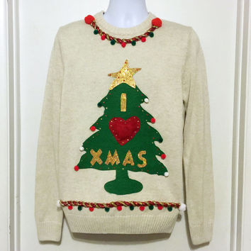 Ugly Christmas Sweater, Grinch Sweater, Christmas Sweater, Sweater, Christmas Tree, Ugly Sweater Party, White Sweater, Medium, Item #10