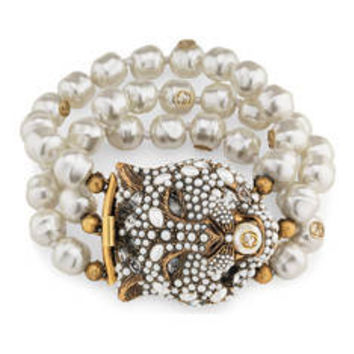 Gucci Feline head bracelet with crystals and pearls