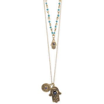 Gold & Hamsa Hand Layer Necklace