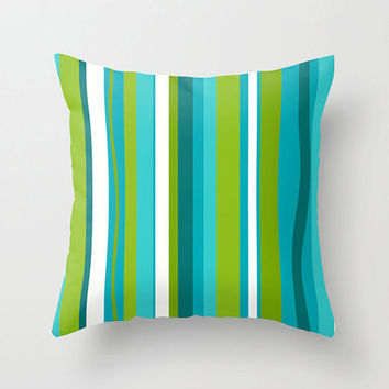 Mod Green & Turquoise Outdoor Pillow, Striped  Outdoor Pillow, Modern Outdoor Pillow, Mod Cushion,Modern Outdoor Cushion ,Fun Cushion