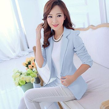 Women Suit Blazer Foldable Brand Jacket Made Of Cotton & Spandex With Lining Vogue Candy Colors Blazers 2017