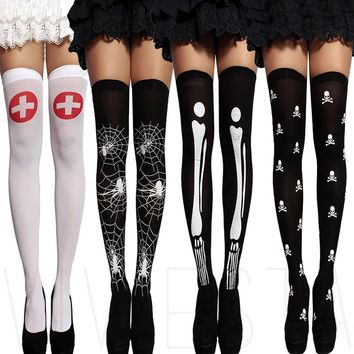Fashion Sexy Cosplay Striped Knee Stockings Girl Printed Thigh Stockings Female Over The Knee High Socks Pantyhose Skeleton