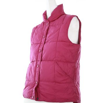 Lands end womens jacket Size XS bubble style vest snap buttons