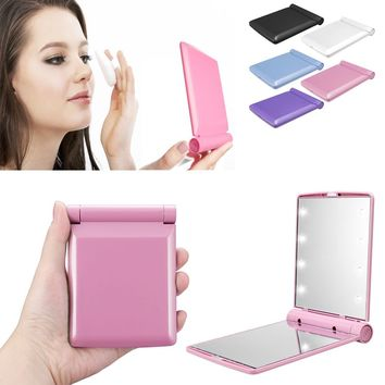 Cosmetic Compact Pocket Mirror With 8 LED Lights Lamps