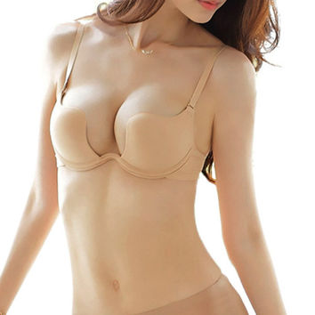 Deep U Plunge Shaped Bra LowCut Halter Convertible Multiway Push Up Bra 32-38B
