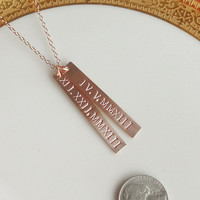 Roman Numeral Date Bar Necklace . Rose Gold Double Bar, Dates, Names, Mothers, Couples, Grandmas, Twins