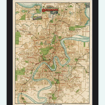 Vintage Map of Brisbane City , Australia Oceania 1920 - VINTAGE MAPS AND PRINTS