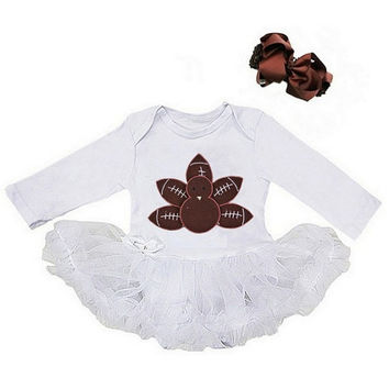 Thanksgiving tutu set, Football Turkey White and Brown Bodysuit Romper Pettiskirt Tutu & Bow Headband, Baby Costume