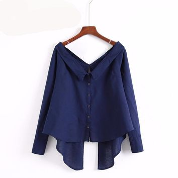 European Style Slash Neck Cotton & Linen Asymmetic Sexy Back Split Tie Up Blouse
