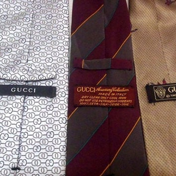 Lot Of 3 Classic Silk Men's Neckties GUCCI Mixed Pattern Made in Italy