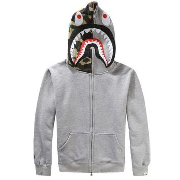 ONETOW Bape Aape Shark Hoodies Men's plus velvet sweater Men's and women's lovers hooded jacket Gray