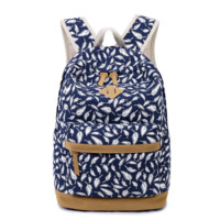 Feather Printed Backpack Canvas Travel Bag