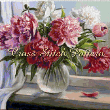 Counted Cross Stitch Pattern Scheme Peonies 2