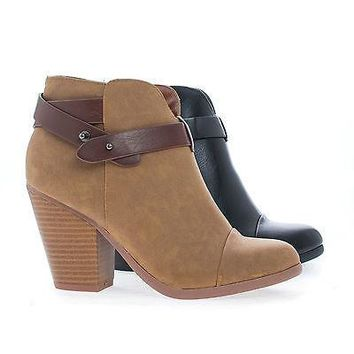 Sugar By Soda, Almond Toe Western Ankle Wrap Stacked Heel Boots