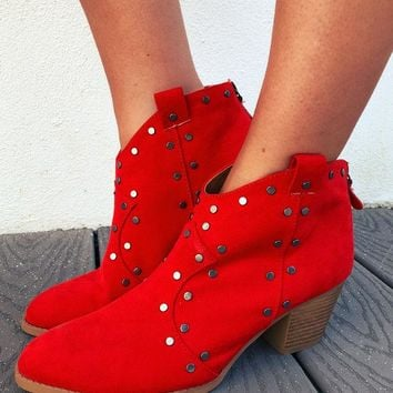 Walk The Walk Booties: Red