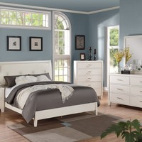 5 pc Tyler II Collection white finish wood queen platform bed set with leather like vinyl padded panel headboard