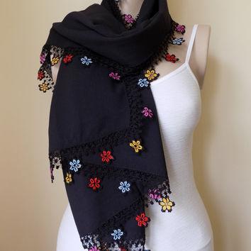 Turkish Yemeni Turkish Scarf (Yemeni)With Crochet Lace, Black Floral Cotton Scarf vİntage scarf