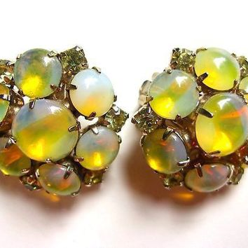 Yellow Opalescent JULIANA Earrings, Cabochons & Clear Rhinestones, Moonglow Vintage