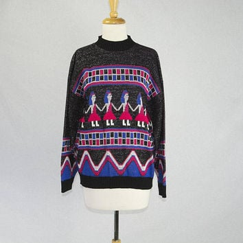 Vintage 1980s Walk Like an Egyptian Sweater Weirdly Cute Hieroglyphic Dancers!
