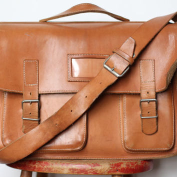 Large Vintage Leather Shoulder Bag - Messenger Laptop Bag or School Satchel