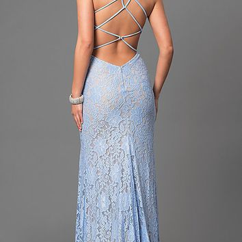 Long Lace Open-Back Prom Dress by La Femme