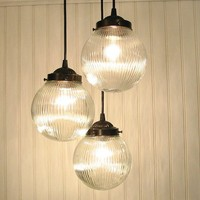 Cary's Mill III Clear Holophane CHANDELIER Trio by LampGoods