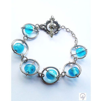 Turquoise Bead and Jump Ring Bracelet Attached to a Flower Vintage Clasp