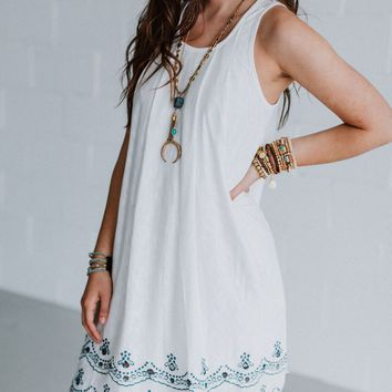 Liv Embroidered Hem Dress - White