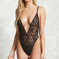 Sheer Lace V-Neck Bodysuit