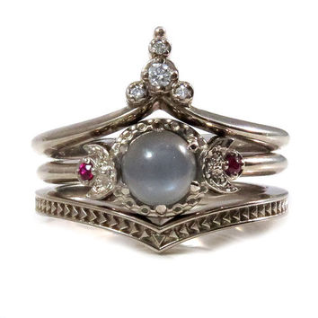 Lunar Temple Grey Moonstone, Ruby and Diamond Moon Engagement Ring Set - 14k Palladium White Gold