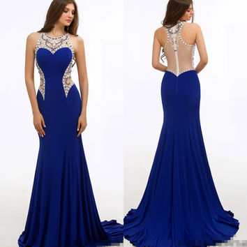 Royal Blue Jersey Mermaid Long Prom Dresses 2017 Sleeveless Beaded Crystals Sexy Sheer Back Women Formal Prom Party Gowns New