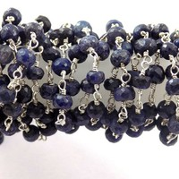5 Feet Dyed Blue Sapphire 925 Silver Plated 3.5-4mm Faceted Rosary Beaded Chain, Blue Beeds Rondelle Shape Beads