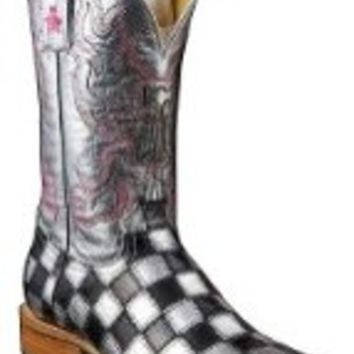 Tin Haul Women's Shiny Metal Checkered Cowgirl Boot Square Toe Black 9 M US