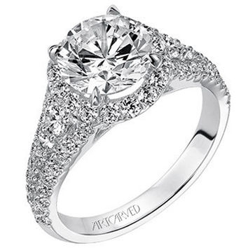 "Artcarved ""Wanda"" Enchanted Halo Engagement Ring Featuring 0.80 Carat Round Center Diamond"