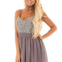 Charcoal Grey Sleeveless Dress with Lace Detail