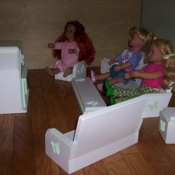 living room set doll furniture handcrafted for American girl doll green butterfly design