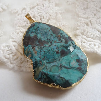 1- Malachite Gemstone Pendant 2 Sided Slice Stone Natural Green Agate Druzy Double Sided Large Gem Pendant Diy Jewelry Making Supplies G3