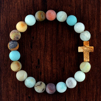 Frosted Amazonite Cross Bracelet - Frosted Amazonite Gemstone Beads, Picture Jasper Cross Bead, Bohemian Bracelet, Yogi Bracelet, Christian