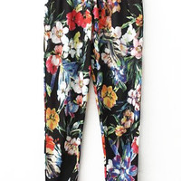 Elastic Waist Floral Loose Fitting Pants