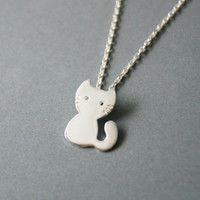 Cat Necklace - Handmade in sterling silver