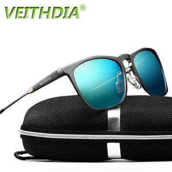 2017 Veithdia Brand Mens Retro Aluminum Mirrored Sunglasses Polarized Vintage Eyewear Accessories Sun Glasses Blue 6368 VEITHDIA