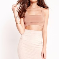 Missguided - Slinky Square Neck Crop Top Nude
