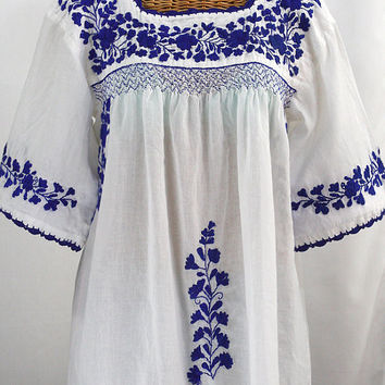"Mexican Blouse: ""La Marina"" in White with Blue Embroidery"
