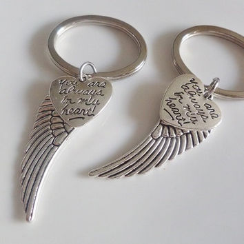 Set of 2 Angel Keychains, Angel wings keychains, you're always in my heart keychain, Best Friends sisters Couples Boyfriend Girlfriend Gift