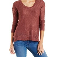 Red Slub Knit Pullover Sweater with Slits by Charlotte Russe