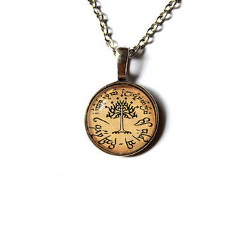 LOTR pendant White Tree of Gondor necklace Lord of the Rings jewelry Antique style n260