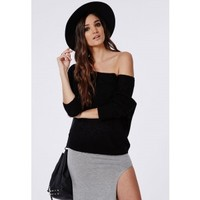 Missguided - Lofty Off Shoulder Knitted Jumper Black
