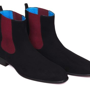 Paul Parkman (FREE Shipping) Black Suede Chelsea Boots (ID#SD841BLK)