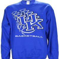 UK 3D Logo on a Blue Crewneck Sweatshirt