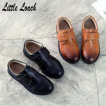 Size26-41 Boys Leather Shoes Black Brown Students Formal Shoes Gentlemen's Party Dress Shoes Soft Stage Performance Costumes